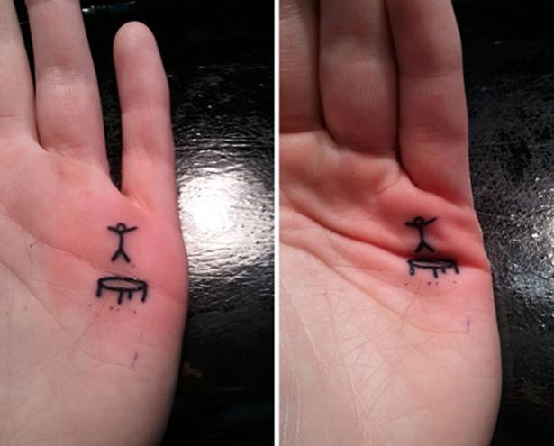Trampoliinillä hyppijä tatuointi
